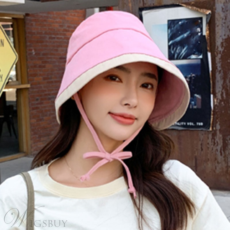 Casual Style Women's Lace-Up Color Block Pattern Dome Crown Type Sun Hats For Summer