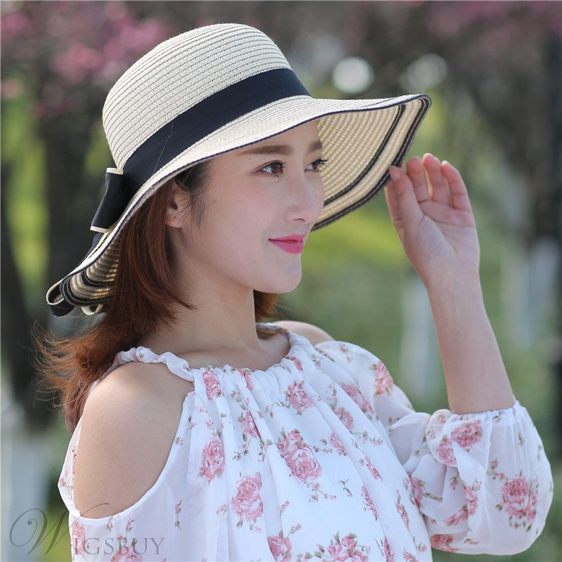 Summer Casual Style Bowknot Embelleshment Color Block Wide Brim Dome Crown Sun Hats