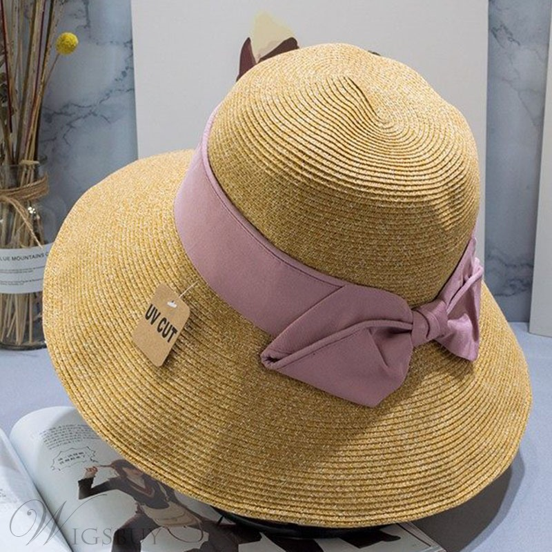 Summer Women's Casual Style Bowknot Embellishment Dome Crown Type Sun Hats