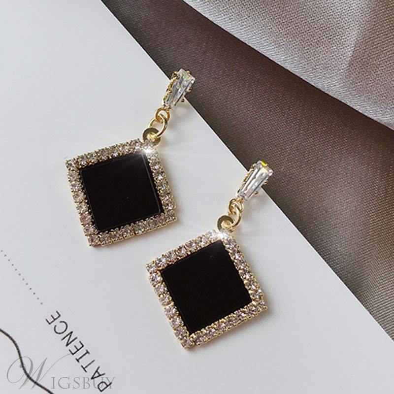Women's Korean Style Geometric Pattern Silver Material Drop Earrings For Party/Birthday/Gift