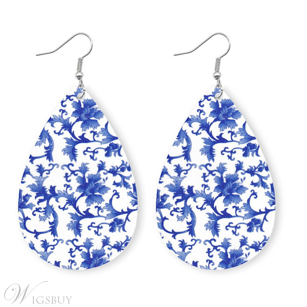 European Style Women/Ladies Water Drop Pattern Colorful Drop Earrings