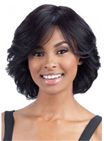 Chin-Length Shag Wavy Human Hair Wig 14 Inches For Black Women
