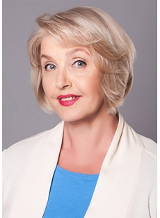 Women's Short Blond Layered Hairstyle Wavy Synthetic Hair Capless Wigs 8Inch