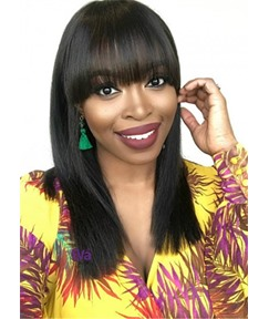 Simple Straight Full Bangs Hairstyle Straight Human Hair Capless Wigs 22 Inch