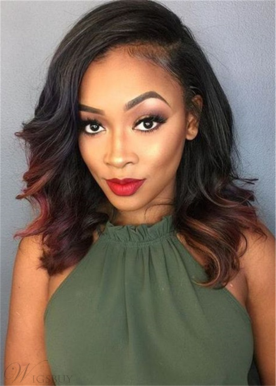 Medium Bob Wavy Wig Synthetic Hair Side Parted Capless Women Wigs 16 Inches