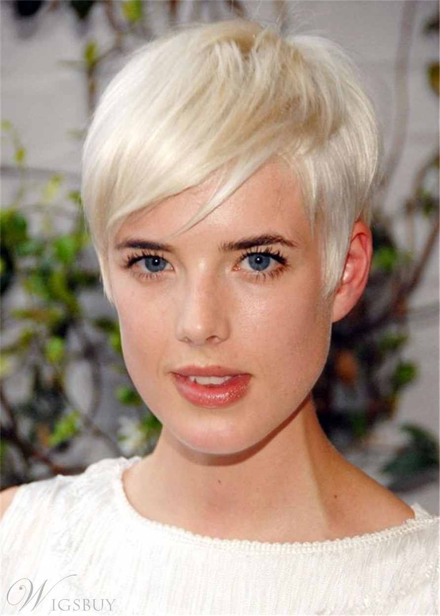 Pixie Cuts Synthetic Hair With Bangs Capless Women Wigs 8 Inches