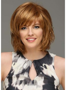 Women's Short Layered Hairstyles Natural Straight Human Hair Capless Wigs With Bangs 12Inch