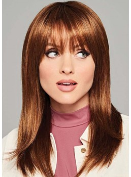 Medium Hairstyles Women's Natural Looking Straight Human Hair Capless Wigs With Bangs 20Inch