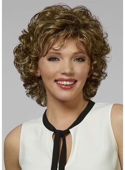 Short Bob Hairstyles Women's Big Curly Human Hair Capless Wigs 10Inch