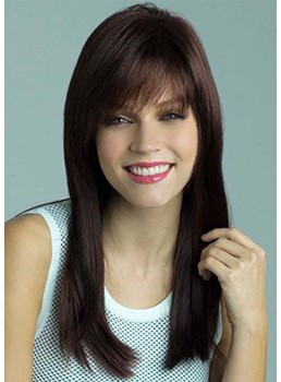Women's Natural Looking Long Length Straight Human Hair Capless Wigs 24Inch