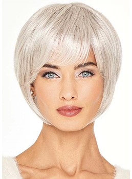 Women's Short Cut Bob Hairstyles Blonde Color Straight Human Hair Capless Wigs With Bangs 8Inch