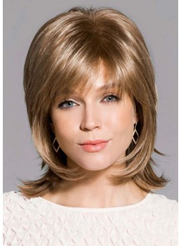 Women's Short Layered Shaggy Hairstyles Natural Straight Human Hair Capless Wigs 12Inch