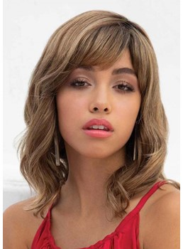 Medium Hairstyles Women's Brown Color Wavy Human Hair Bangs Style Capless Wigs 16Inch