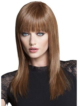 Women's Long Bob Hairstyles Slik Straight Human Hair Wigs With Bangs Capless Wigs 20Inch