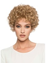 Women's Blonde Color Short Length Kinky Curly Synthetic Hair Capless Wigs 8Inch