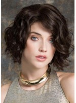 Women's Short Layered Hairstyles Wavy Synthetic Hair Capless Wigs 12Inch