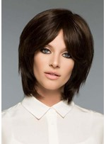 Women's Short Shaggy Hairstyles Natural Straight Synthetic Hair Capless Wigs 12Inch