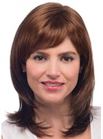 Women's Medium Shaggy Hairstyles Straight Synthetic Hair Capless Wigs With Bangs 18Inch
