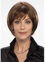 Women's Short Bob Hairstyles Straight Synthetic Hair Wigs With Bangs Capless Wigs 8Inch