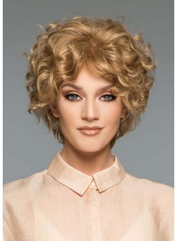 Women's Short Length Curly Hairstyles Blonde Synthetic Hair Capless Wigs 10Inch