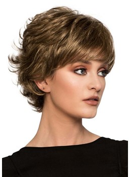 Women's Short Layered Hairstyles Natural Looking Wavy Synthetic Hair Capless Wigs 10Inch
