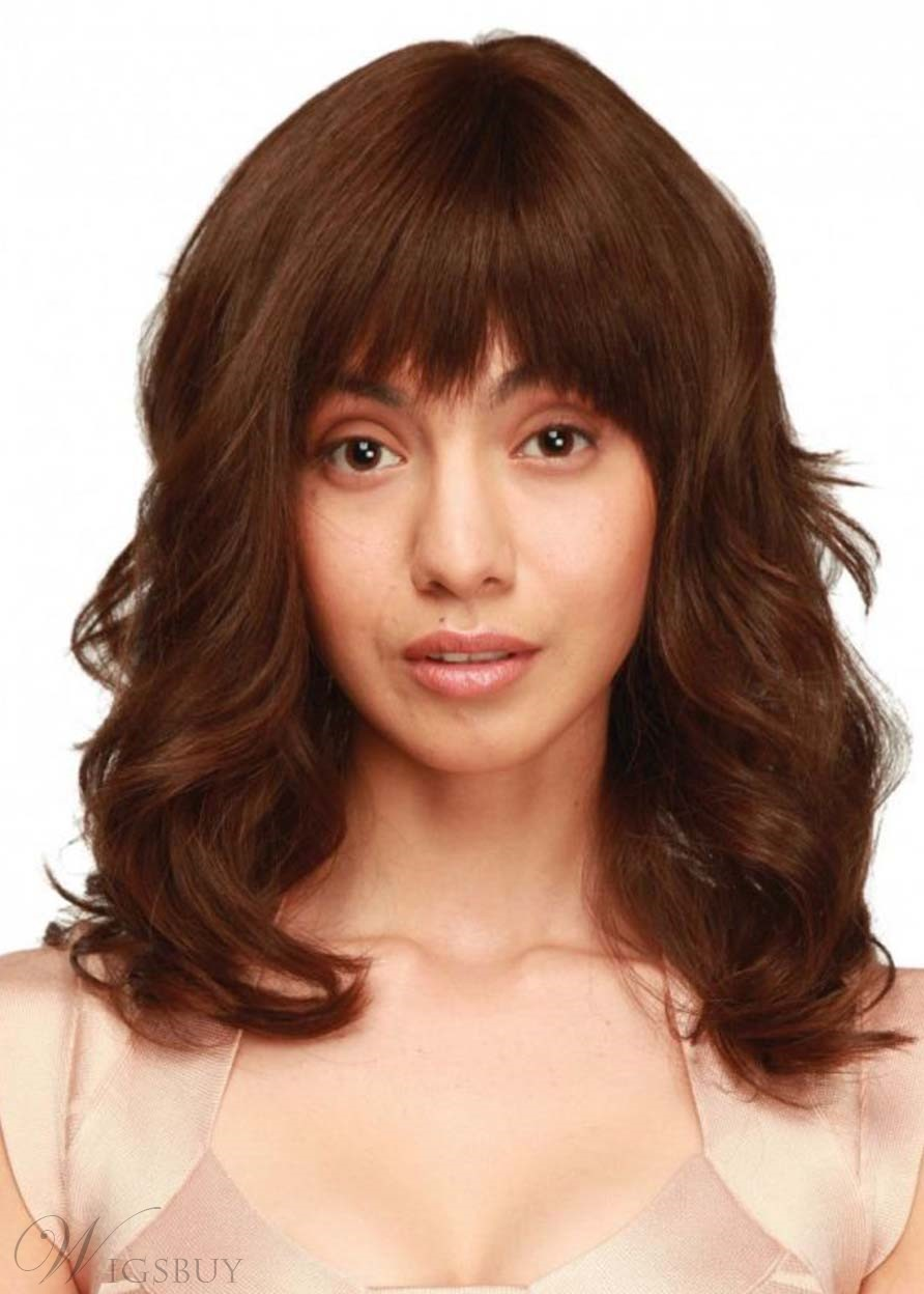 Women's Medium Layered Hairstyles Wavy Synthetic Hair Capless Wigs With Bangs 22Inch