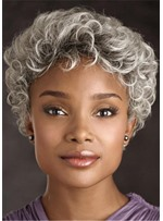Old Women Grey Curly Short Kinky Curly Synthetic Hair Capless Wigs 8Inch