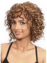 Chin-Length Afro Curly Synthetic Hair Capless Wig For Black Women 14 Inches