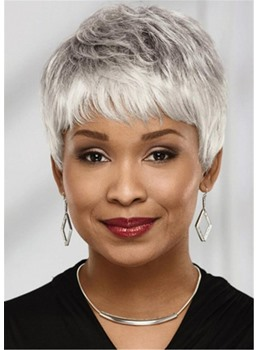 Short Chic Pixie Haircut Straight Synthetic Hair Wig With Layers Capless Wigs 8Inch