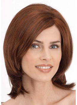 Medium Hairstyles Women's Natural Straight Human Hair Capless Wigs 16Inch