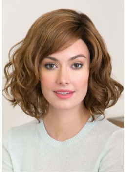 Fashion Women's Medium Hairstyle Loose Wavy Synthetic Hair Capless Wigs 16Inch
