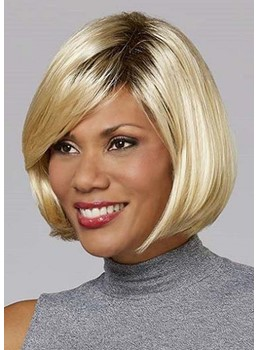 African American Women's Blonde Color Bob Straight Synthetic Hair Capless Wigs 10Inch