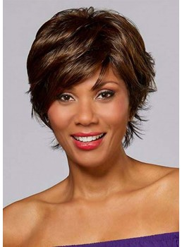 Women's Short Shaggy Wavy Hairstyles Layered Synthetic Hair Capless Wigs 8Inch
