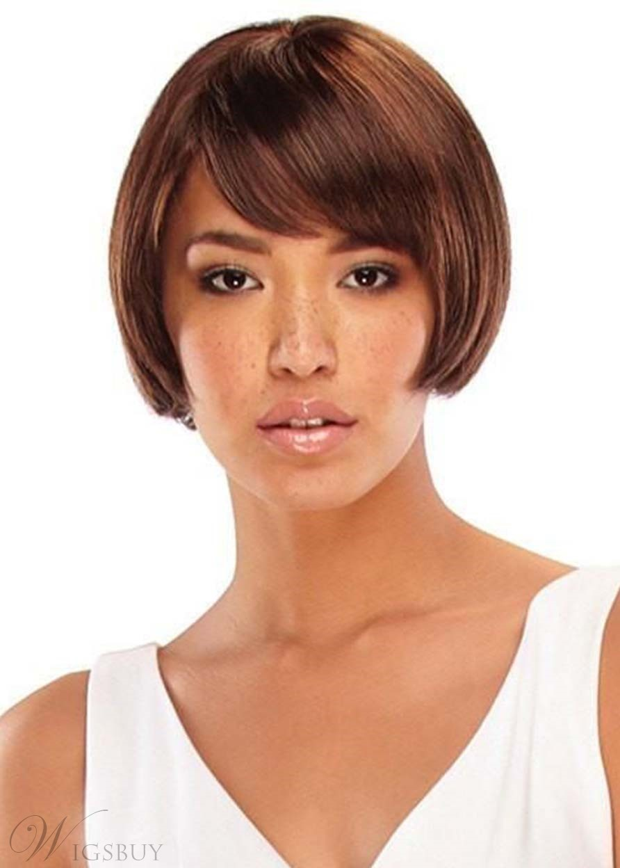 Women's Bob Style Short Length Straight Synthetic Hair Capless Wigs With Bangs 8Inch