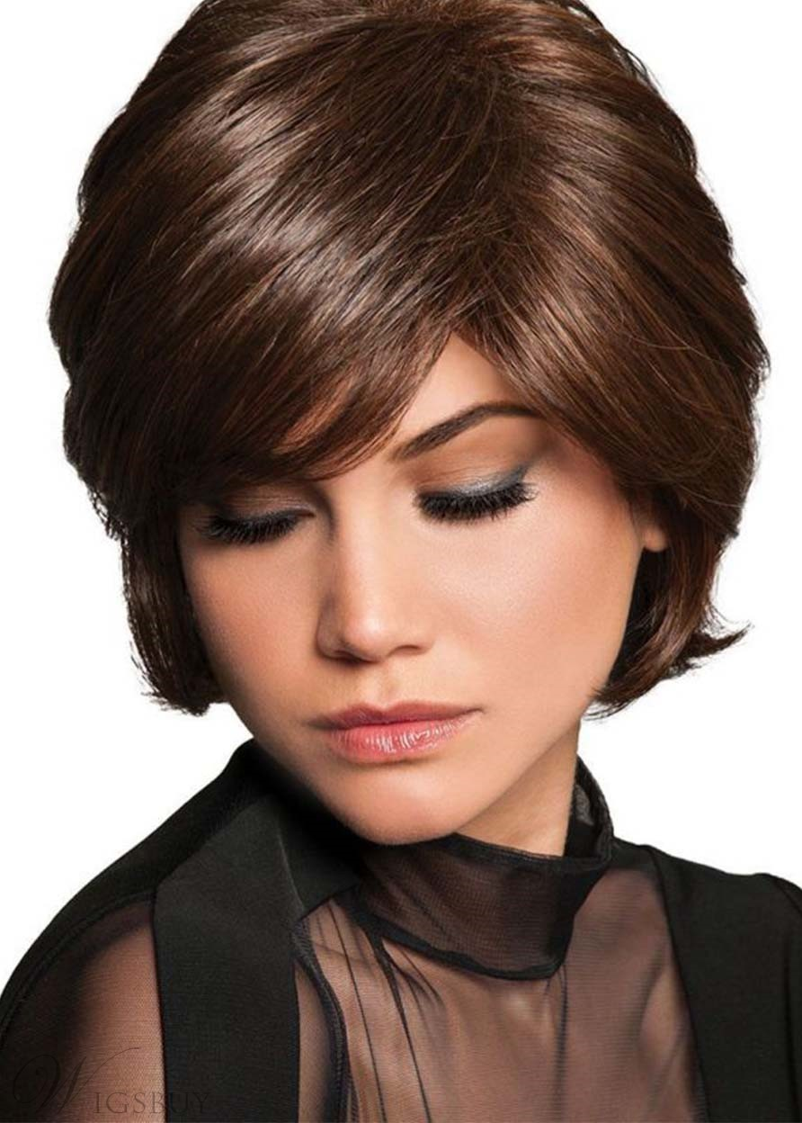 Women's Short Shaggy Layered Hairstyle Natural Straight Human Hair Capless Wigs 10Inch