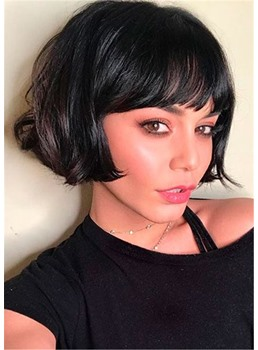 Women's Neat Bob Natural Straight Synthetic Hair Capless Wigs 8 Inch