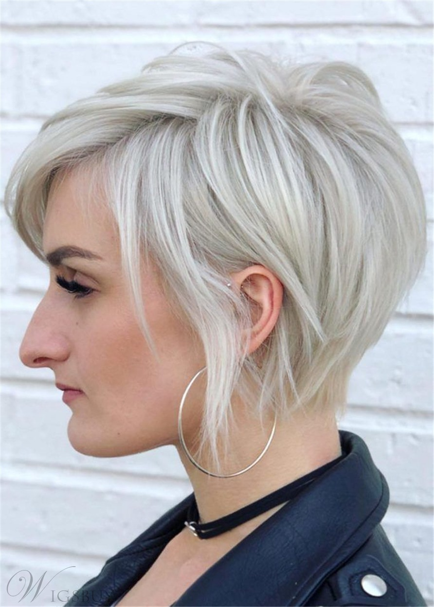 Side-Swept Long Layered Pixie Haircut Nature Straight Synthetic Hair Capless Wigs 10Inch