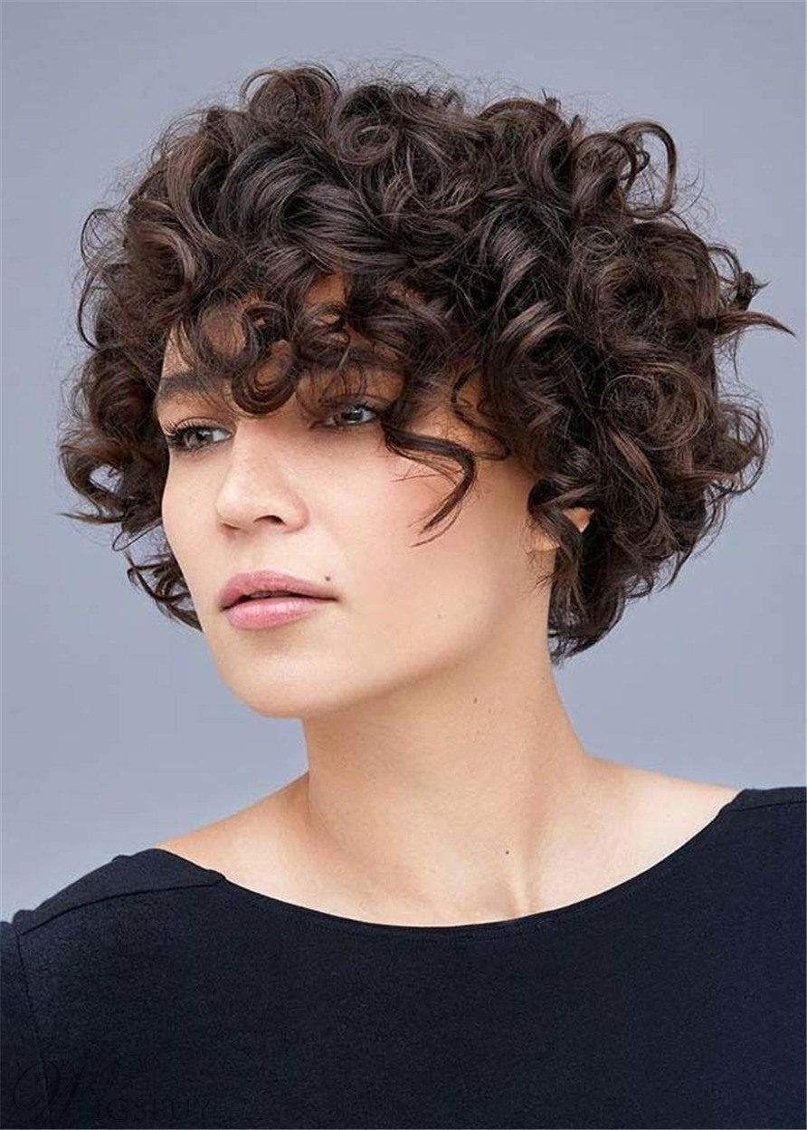 Women's Layered Bob Hairstyles Synthetic Curly Hair Capless Wig With Bangs 12Inches