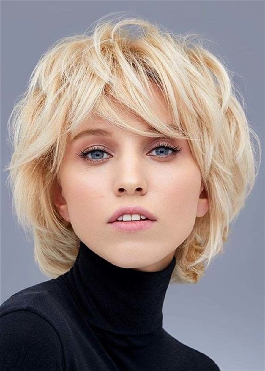 Women's Layered Bob Hairstyles Nature Wavy Synthetic Hair Capless Wigs 10Inch