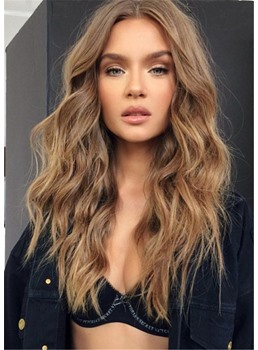 Women's Middle Parted Loose Wavy Human Hair Capless Wigs 22 Inch