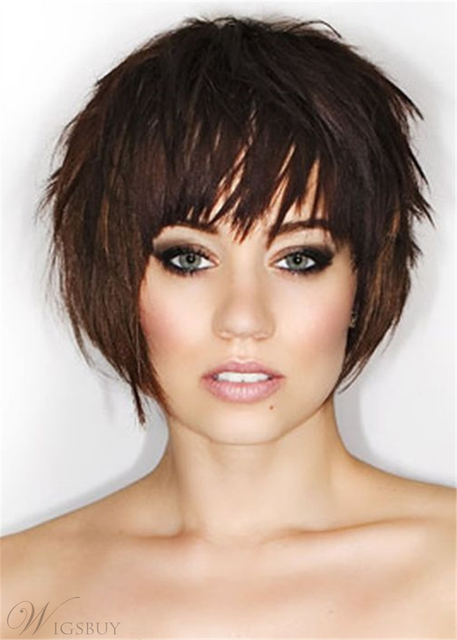Pixie Short Haircuts Synthetic Natutal Straight Hair Capless Wigs For Women 10Inch