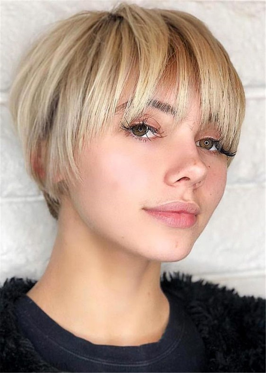 Short Cut Bob Hairstyles Natural Straight Synthetic Hair Capless Wigs With Bangs 10 Inch