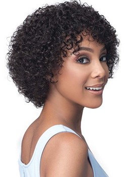 African American Women's Kinky Curly 100% Human Hair Capless Wigs With Bangs 12Inch