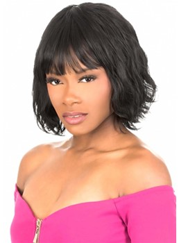 African American Women's Short Wavy Bob Style Human Hair Capless Wigs With Bangs 12Inch