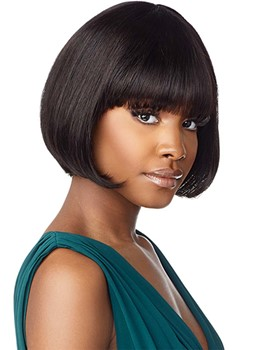 Short Bob Hairstyles African American Women's Bob Style Straight 100% Human Hair Wigs With Bangs 10Inch