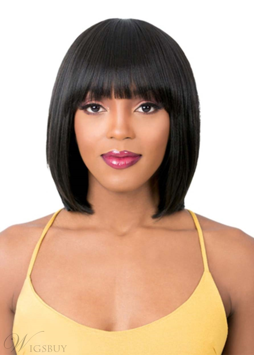 Women's Short Straight Bob Hairstyles Human Hair Wigs With Bangs Capless Wigs 14Inch