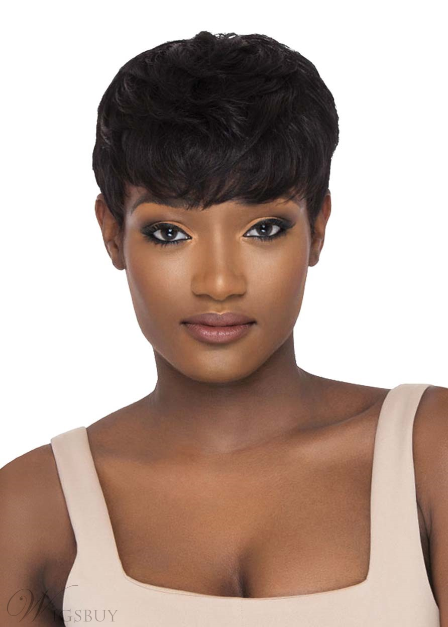 Natural Looking Short Pixie Cut Wavy Human Hair Capless Wigs For African American Women