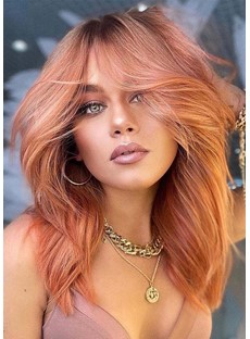 Sexy Women's Long Layered Hairstyle Wavy Synthetic Hair Capless Wigs With Bangs 22Inch