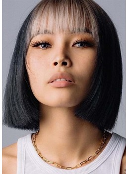 Short Bob Hairstyles Women's Straight Bob Style Synthetic Hair Capless Wigs With Bangs 12Inch