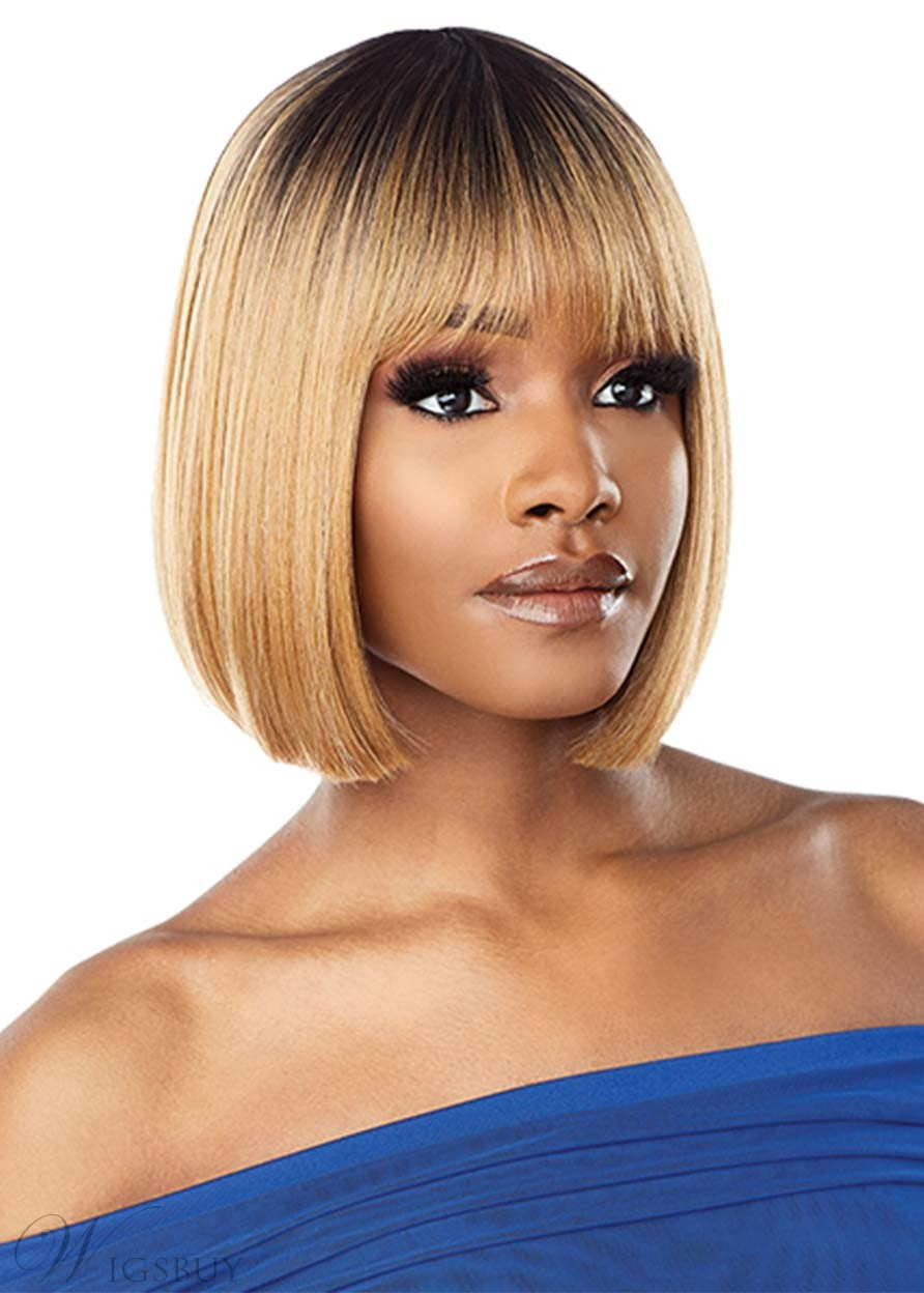 African American Women's Short Bob Style Straight Synthetic Hair Capless Wigs 12Inch